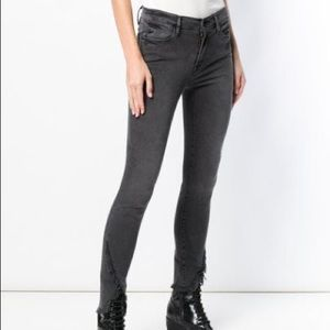 Frame Le High Skinny Asymmetrical Raw Hem Jeans